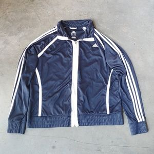 Adidas Navy and White Full Zip Track Jacket XL